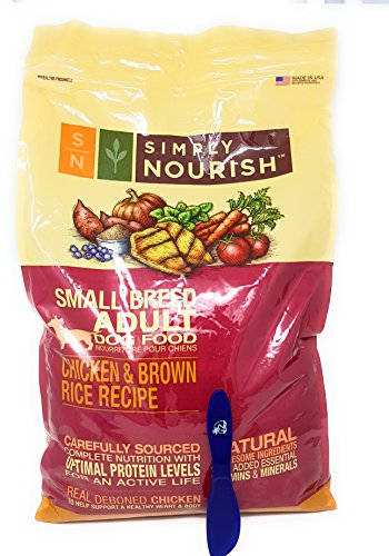 Simply Nourish Small Breed Adult Dry Dog Food - Natural, Chicken & Brown Rice, 15lbs with Especiales Cosas Mixing Spatula