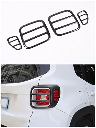 FMtoppeak Black Metal Tail light Rear Lamp Protector Guard Cover For 2014 UP Jeep Renegade