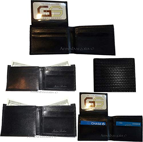 Printed Man's Cards Woven ID BNWT New 6 fold Wallet Leather Wallet 5 of Lot bi qIawBYa