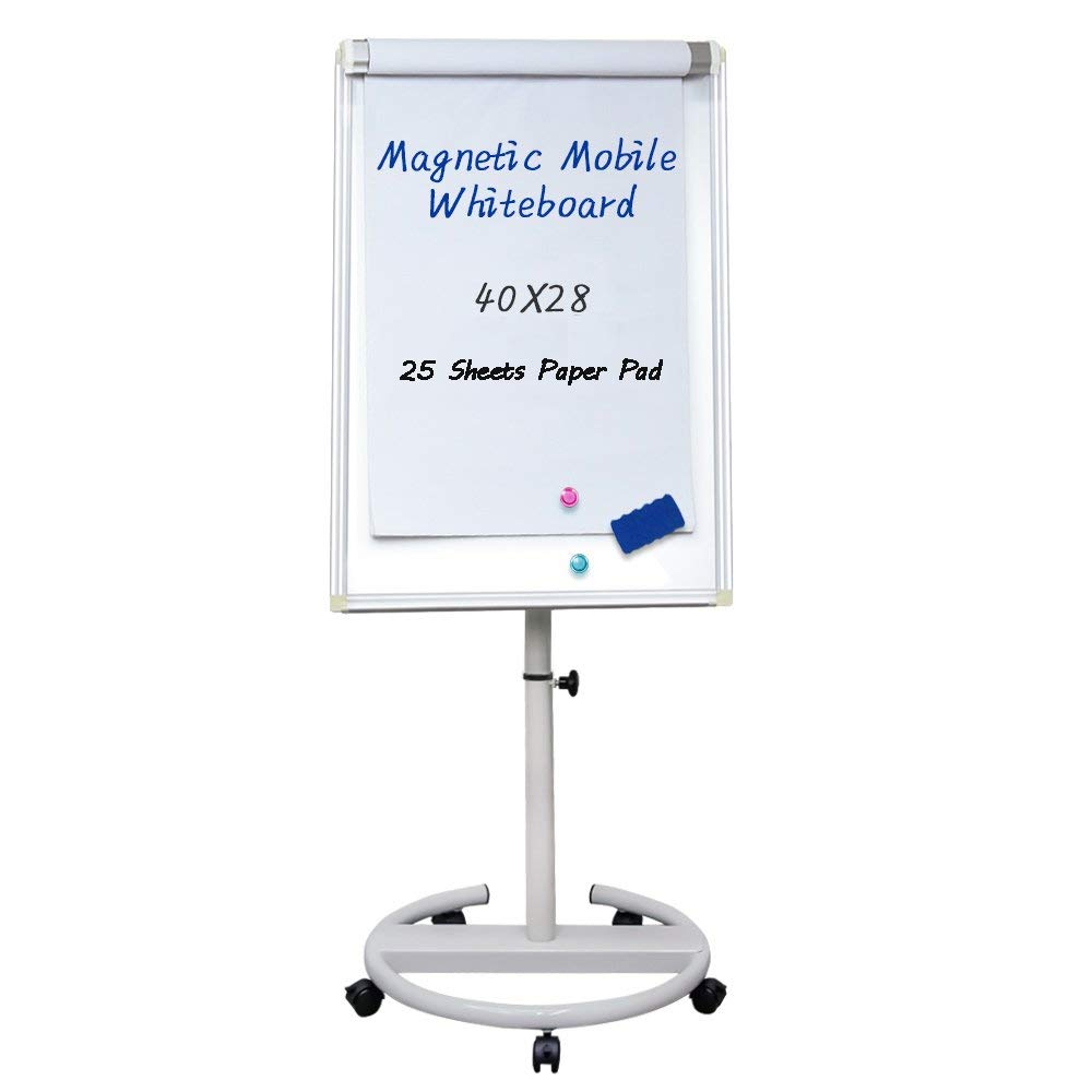 Mobile Dry Erase Board - 40x28 inches Magnetic Portable Whiteboard Stand Easel White Board Flipchart Easel Board with 25 Sheets Paper Pad by maxtek