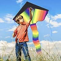 muy f/ácil de volar parque de juegos al aire libre y juguetes voladores y r/ápido de montar Cometa enorme delta del arco iris para los ni/ños patio trasero