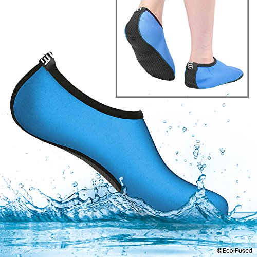 Water Socks for Women - Extra Comfort - Protects Against Sand, Cold/Hot Water, UV, Rocks/Pebbles - Easy Fit Footwear for Swimming Blue & Black