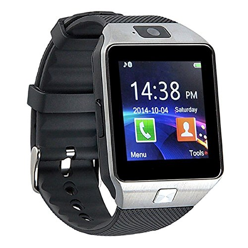 Pandaoo Smart Watch Mobile Phone DZ09 Unlocked Universal GSM Bluetooth 4.0 Music Player Camera Calendar Stopwatch Sync with Android Smartphones(Silver) (Mobile Android Unlocked)