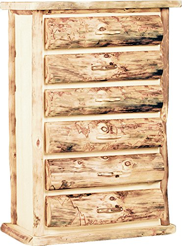 Mountain Woods Furniture Aspen Heirloom Collection 6 Drawer Chest, Wood Pull, Poly Finish (Log Chest Aspen)
