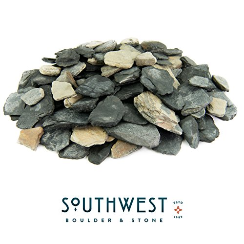 Black and Tan Slate Chips | 2000 Pounds | 100% Natural Decorative Garden Stones | Ideal Ground Cover or Top Dressing | Adds Contemporary Look to Any Landscape Design | 1 Inch - 3 Inch by Fire Pit Essentials