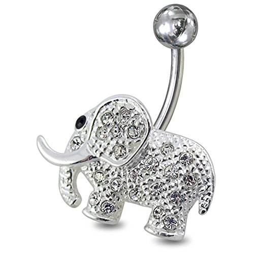 (Clear CZ Stone Fancy Multi Crystal Elephant 925 Sterling Silver with Grade 23 Solid Titanium Navel Button Ring)