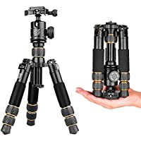 Tabletop Tripod with Ball Head,21.8 Lightweight Travel Portable Mini Desktop Aluminum Tripod for DSLR Camera Q166A Monopod 3-in-1 (Tripod,Unipod & Selfie Stick)
