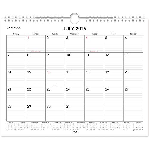 Cambridge 2019-2020 Academic Year Monthly Wall Calendar, Medium, 12