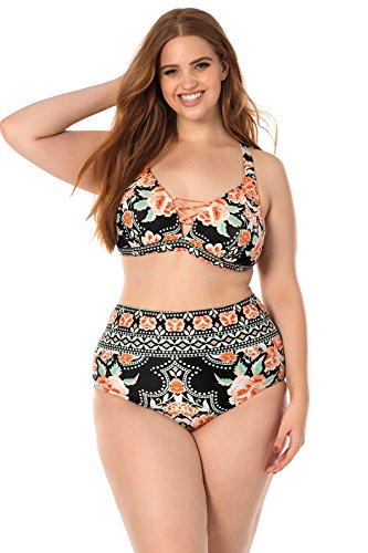 Becca Etc by Rebecca Virtue Women's Plus Size Convertible Strap Bikini Top  Multi 1X