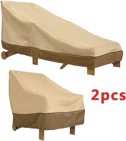 Tumbonas para Exterior Cubiertas Impermeables De Jardín De Ratán Cubierta De Cama Solar Protector De Muebles De Patio Anti-UV con Revestimiento De 2 Piezas: Amazon.es: Hogar