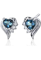 Heart Shape London Blue Topaz Earrings in Sterling Silver Rhodium Nickel Finish 1.00 Carat Total Weight