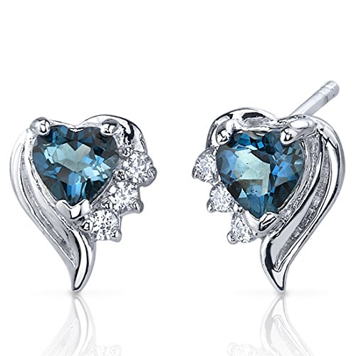 Heart Shape London Blue Topaz Earrings Sterling Silver 1.00 Carats