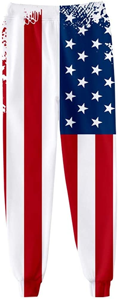 Men's Loose Pants Fashion Casual Plus Size America Flag Printed Sweatpants Jogger Trousers with Pocket