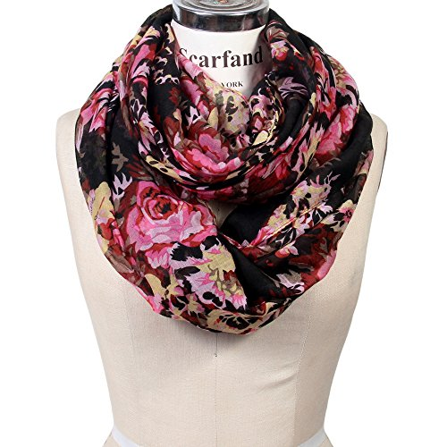 Scarfand's Romantic Rose Print Lightweight Infinity Scarf (Rose Black)