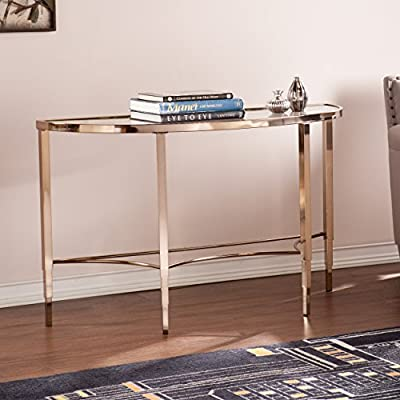 Southern Enterprises Thessaly Console Table - Dimensions: 47.5L x 18W x 29.5H in. Tempered 5mm glass top with .75-in. bevel Plated iron tube frame - living-room-furniture, living-room, console-tables - 51I d5qsL6L. SS400  -