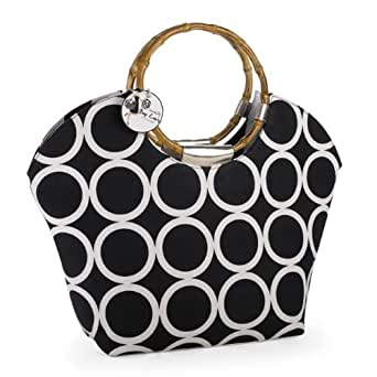 Mud Pie Black Ring Tote Bag with Bamboo Handles