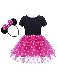 OBEEII Baby Girl Minnie Costume Tutu Dress Fancy Dress Up Halloween Ear Headband
