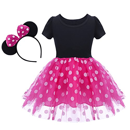 Baby Girl Mouse Costume Tutu Dress Polka Dot Princess Tulle Fancy Dress Up Party Halloween Cosplay Xmas with Ears Headband Tag 90/18 Months ()
