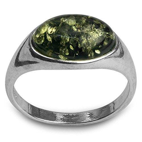 Amber Contemporary Ring - Sterling Silver Green Amber Oval Ring