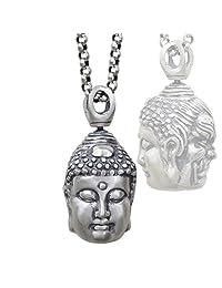 MXXYY Men's Retro 925 Sterling Silver Pendant Necklace Buddha & Magic Convert Personality Accessories