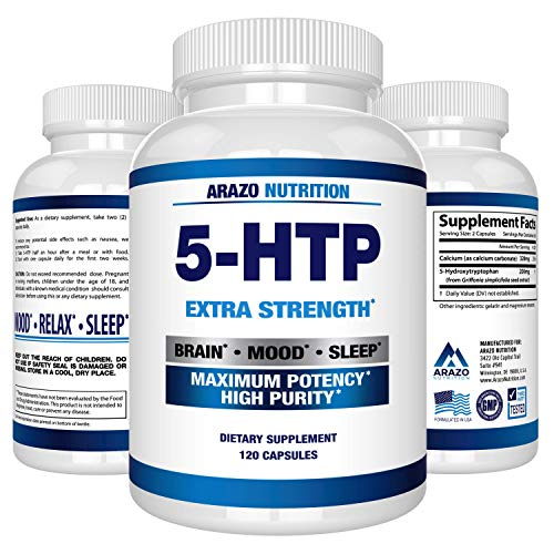 5-HTP 200 mg Supplement - 120 Capsules - Arazo Nutrition (Best Antidepressant For Weight Loss)