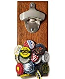Wall Mounted Bottle Opener with Magnetic Cap Catcher Wooden, Refrigerator Mount with Magnets - Fathers Day Gifts for Dad - Man Birthday, Bday Beer Lovers Ideas for Men - Unique Gag Housewarming Gifts