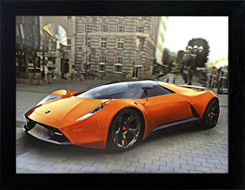 3D Lenticular Picture Poster Artwork Unique Wall Decor Holographic Pictures Optical Illusion Flipping Images (With Frame, Lamborghini)