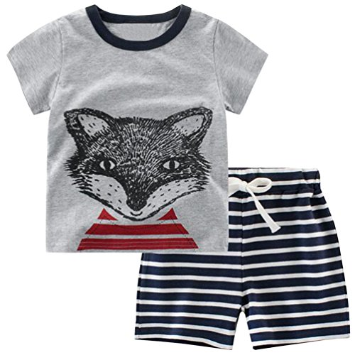Csbks Kids Boys Summer Outfits Short Sleeve T-Shirt & Shorts Sets 1-6 Toddler 4T - 4 Pajamas Boys Set Size