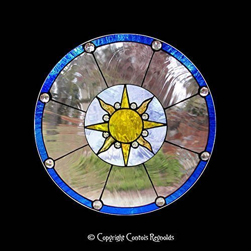 Stained Glass Sunburst Meditation Window ~ Easy to Hang!