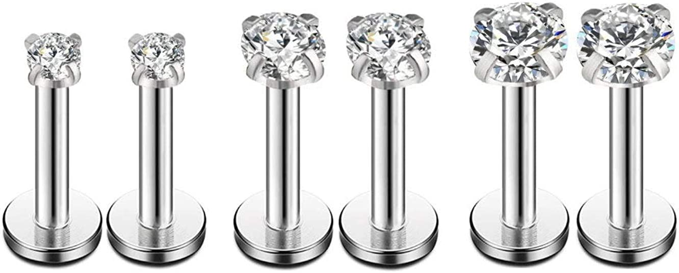 El Morro Labret Body Piercing Jewelry Zircon Gold Coated Surgical Steel Micro Labret With Cone 16g