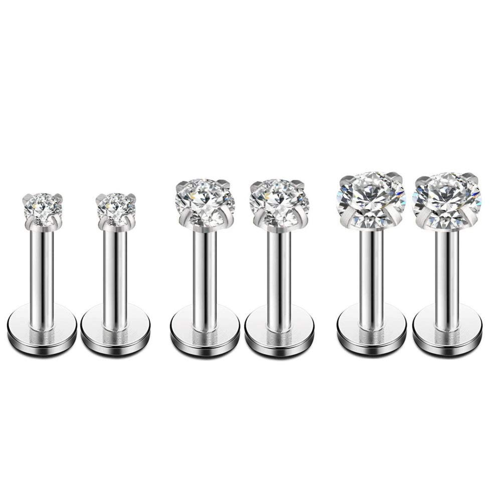 16g CZ Labret Cartilage Tragus Monroe Lip Nose Helix Studs Earrings Stainless Steel Cubic Zirconia Piercings Jewelry 2mm 3mm 4mm 3 Pairs Set Merryshine B079KC9CLX/_US