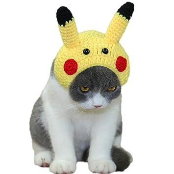 Haustier-Hut-Haustier-Kleidung Halloween-Hut Hand-gestrickter netter Karikatur-Pikachu-Katzen-Hut-Haube Handgemachter kleiner