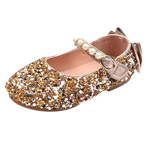 Mysky Popular Children Kids Girls Lovely Sequin Crystal Bowknot Pearl Buckle Princess Shoes Dance Single Shoes Gold
