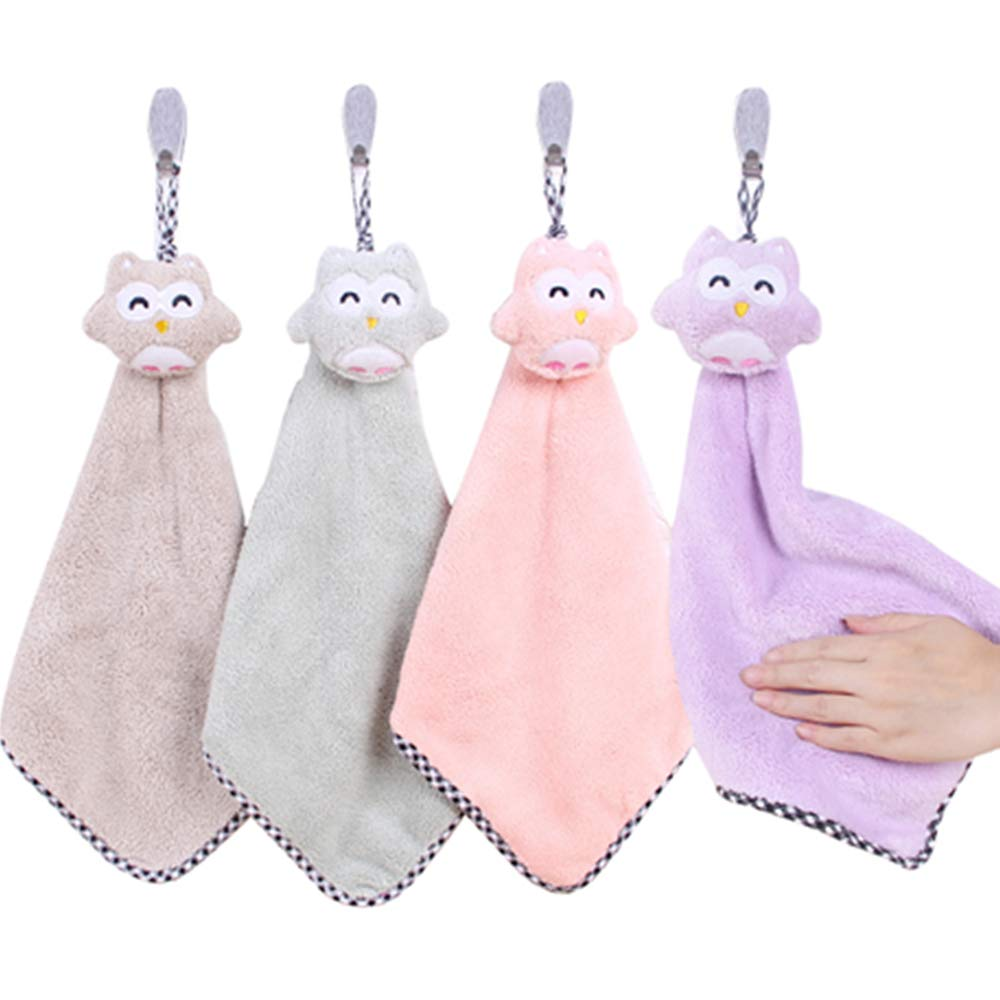 Absorbent Hanging Hand Towels 4 Pcs Cute Hand Animal Towels Fast Dry Soft Dish Wipe Cloth for Home Kitchen Bathroom(4in1)