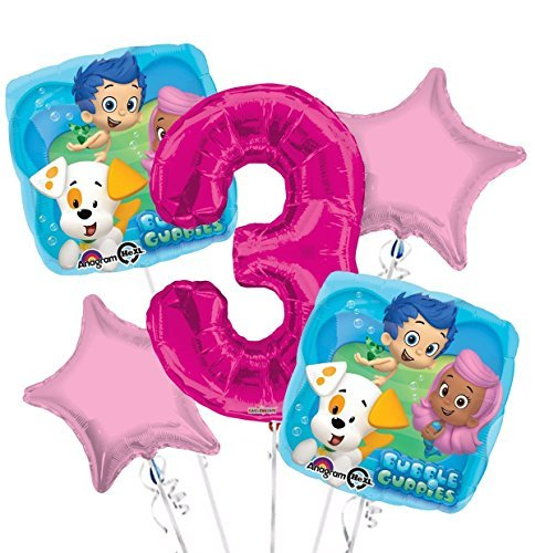 (Bubble Guppies Balloon Bouquet 3rd Birthday 5 pcs - Party)