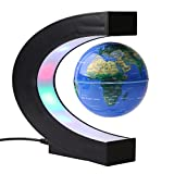 Magnetic Levitating Globe Floating World Globe Map C Shape Stand with 4 Colored LED Night lights-Geography Teaching Demo,Kids Gift,Office Study Desk Decoration(US Plug)