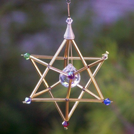 - Gold Tone Merkaba with Chakra Swarovski Crystals Pendulum or Mobile