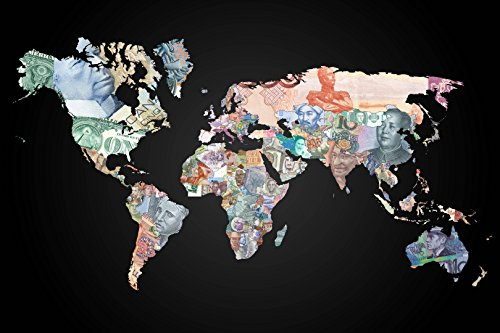 - CURRENCY MAP OF THE WORLD GLOSSY POSTER PICTURE PHOTO money euro pound globe (24