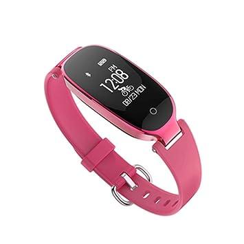 SLGJYY S3 Tensiómetro de Pulso Reloj Mujer Salud Resistente al Agua Bluetooth Llevar Podómetro Pulsera, Color Rojo: Amazon.es: Deportes y aire libre