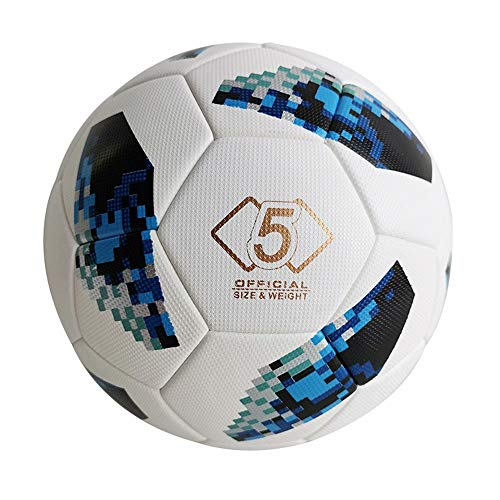 HLH-Fitness Equipment Durable Indoor Outdoor Soccer Ball for Adult Men's Standard Official Size 5 Football Personality Geometric Mosaic Printing Football Non-Slip (Color : C1, Size : 5)