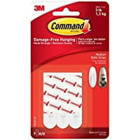 Command Refill Strips, Medium, White, 9-Strips