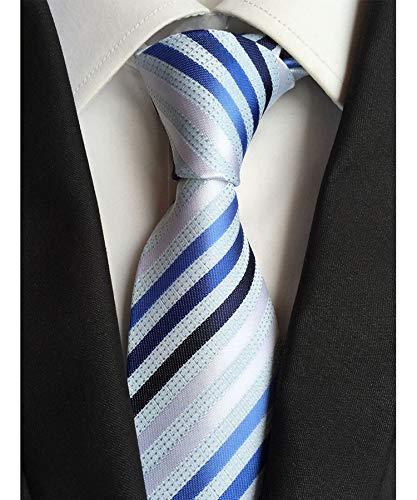Men's Classic Light Blue White StripeTie Jacquard Woven Silk Tie Necktie + Gift ()