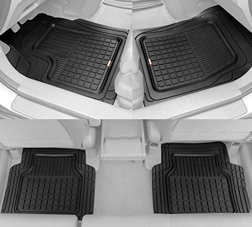 (BDK Performance Plus Rubber Car Floor Mats - Heavy Duty Semi-Custom Fit (Black) - All Weather Protection Mat)