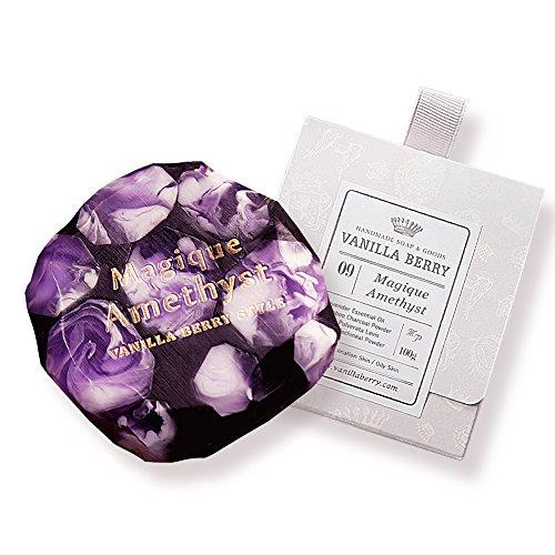 (VanillaBerry Handmade 100% Organic Natural Soap Bar 100g - 09. Magic Amethyst Charcoal (cleansing pore,)