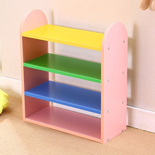 Kids Shoe Rack Organizer wooden Colorful Children Storage Stand For Door Hall Bedroom Balcony Small Space Saving Shelf 4 Tier (Color : Pink) - Kinder Kitchen Cupboard