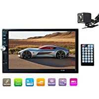 E-WOR Double Din Stereo,7 In-Dash Touchscreen Stereo with Bluetooth/Rear View Camera/FM Tuner and HD Radio,Black(No DVD & GPS Navigation)