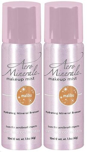 AERO MINERALE Makeup Mist Hydrating Mineral Bronzer MALIBU (PACK OF 2) (CANS HAVE SMALL DENTS)