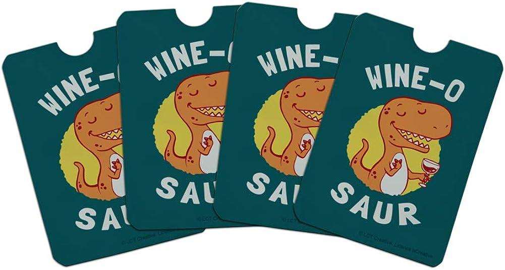 Wine-O Saur Dinosaur Wine Lover Funny Humor Credit Card RFID Blocker Holder Protector Wallet Purse Sleeves Set of 4