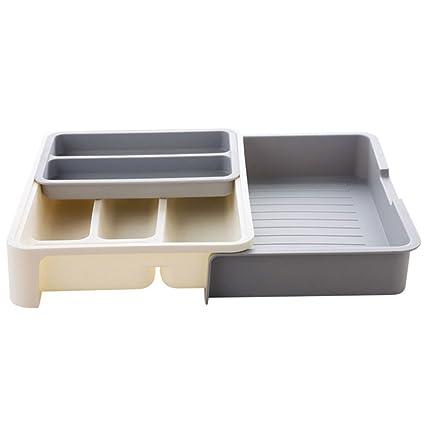 Levoberg Range Cubiertos Extensible para Cajón de plástico Organizador Herramienta Bandeja de Cajón Cocina Oficina
