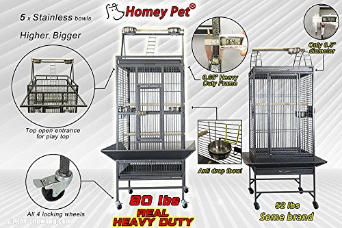 Homey Pet Parrot Macaw Cockatoo Conure Finch Cage with Play-Top, Lockable Caster and Seed Catcher(31'' x 33''),Overal Size: L22''x W24''x H66'' by Homey Pet